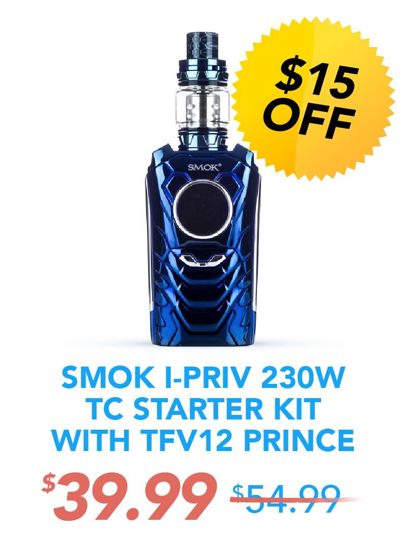 Smok I-Priv 230W TC Starter Kit With TFV12 Prince, $39.99
