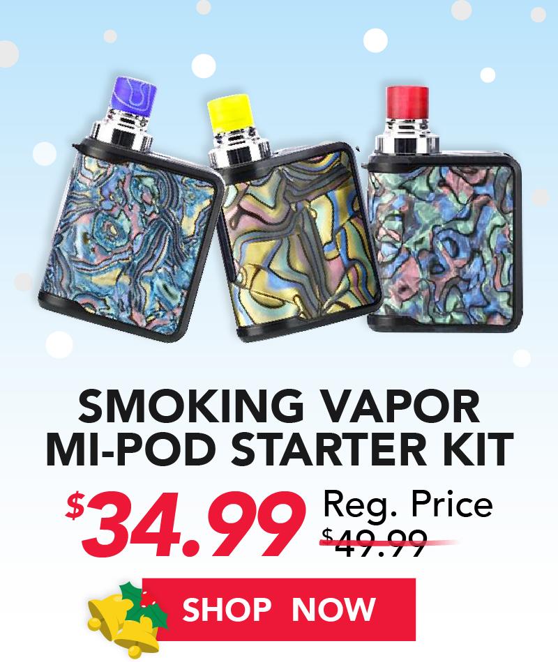 smoking vapor mi pod starter kit $34.99