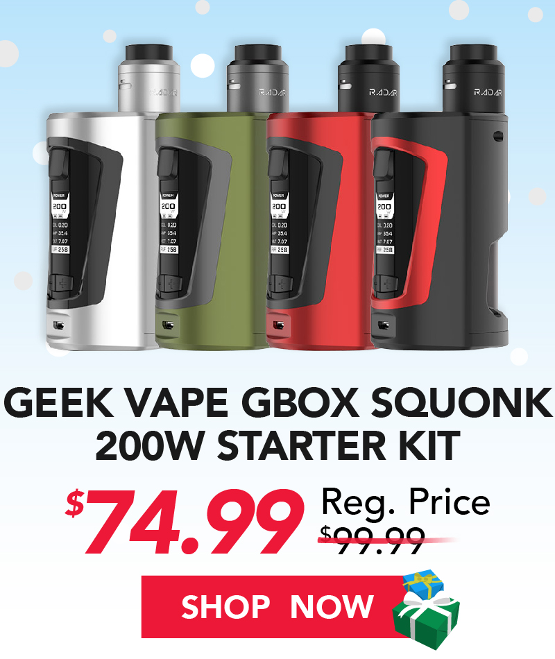 geek vape gbox squonk 200w starter kit $74.99
