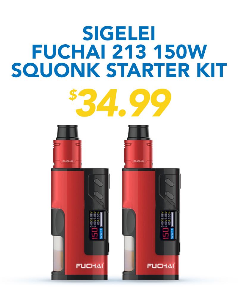 Sigelei Fuchai 213 150W Squonk Starter Kit, $34.99